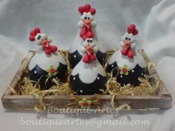 Lindo jogo de maricotas na caixinha/ninho (galinhas feitas em porongo/cabaça) ... R$ 48,00