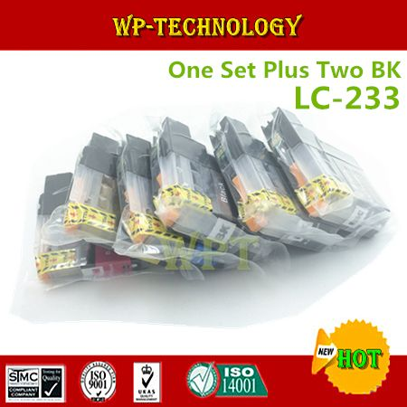 One Set Plus Two BK Compatible Ink cartridge suit for LC233  ,LC-233 XL suit for MFC-J4620DW J5720DW J5320DW  DCP-J4120DW etc
