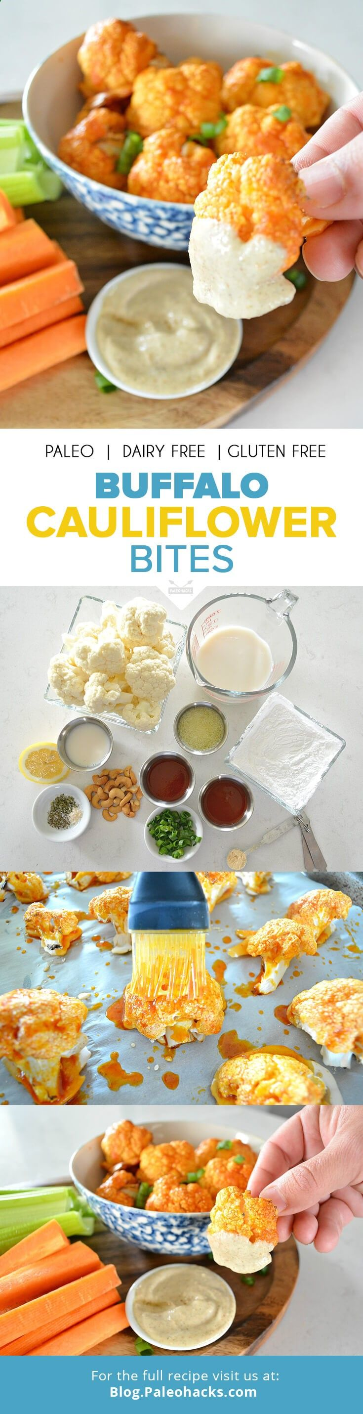 All the spicy buffalo flavor you love about chicken wings are now jam-packed in a healthy and oh-so Paleo cauliflower bite. Oven-baked instead of fried, these crispy nuggets make the perfect snack for Vegan and Paleo eaters alike. For the full recipe visit us here: paleo.co/CauliBites #paleohacks #paleo