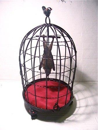 Artist Unidentified: Bat in Birdcage