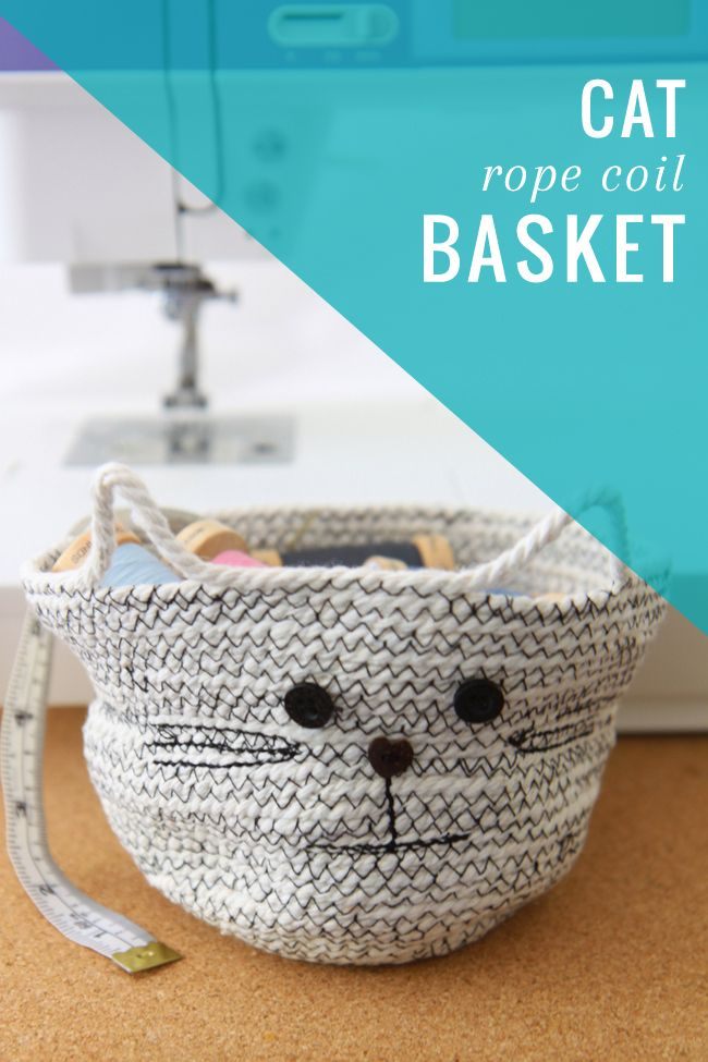Calling All Cat Lovers! Cutest DIY Rope Basket Ever | http://hellonatural.co/diy-rope-basket/