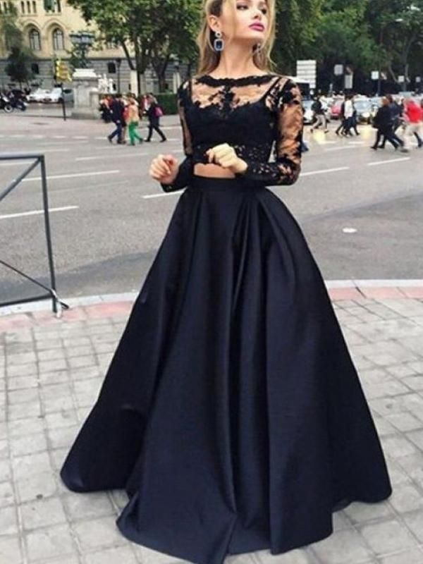 Black Two Piece Long Sleeve Prom Dresses, A-line Lace Two Piece Long Prom Dresses, Grad Dresses, Ball Gown Prom Dresses, TYP0067 Black Two Piece Long Sleeve Prom Dresses, A-line Lace Two Piece Long Prom Dresses, Grad Dresses, Ball Gown Prom Dresses, TYP0067