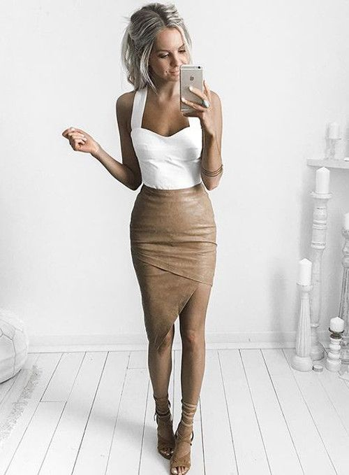 chic white top + nude skirt   Kirsty Fleming style