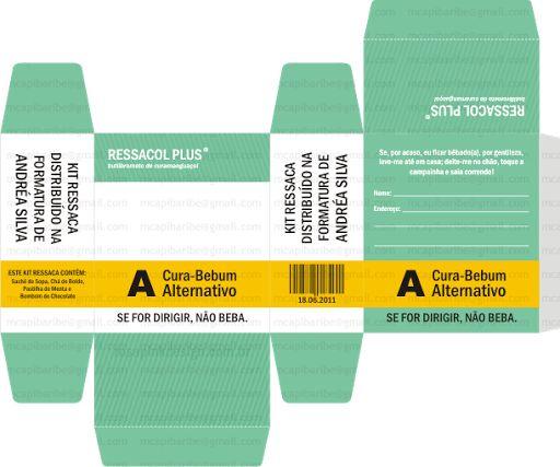 Passo a Passo Kit Ressaca   & Moldes        Material     -Tesoura ou estilete;  - Papel couche, color plus, para scrap, cartolina, pa...