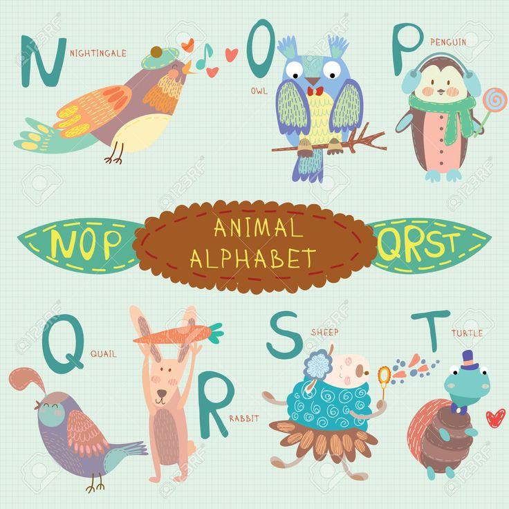 Симпатичные животные алфавит. N, O, P, Q, R, S, T буквы. Соловей, сова, пингвин, перепел, кролик, овца, Turtle.Alphabet дизайн в красочный стиль. Клипарты, векторы, и Набор Иллюстраций Без Оплаты Отчислений. Image 36002812.
