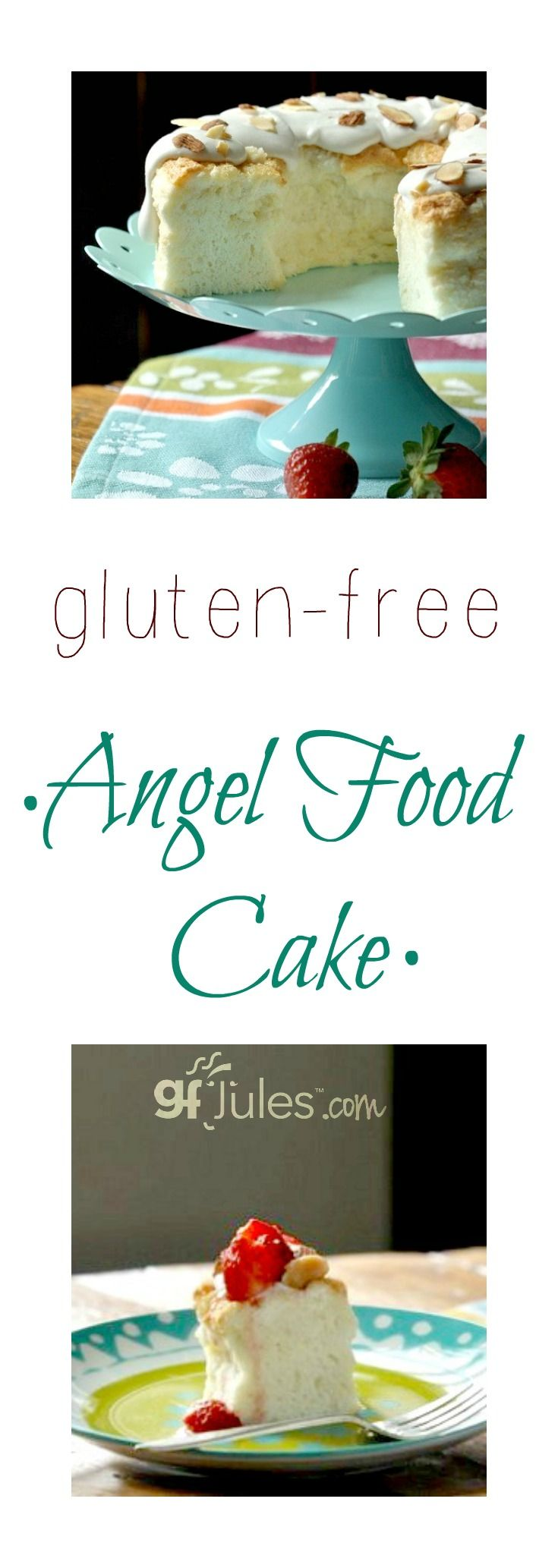 Light and airy gluten free angel food cake! Perfect with summer berries. Dairy-free | gfJules.com