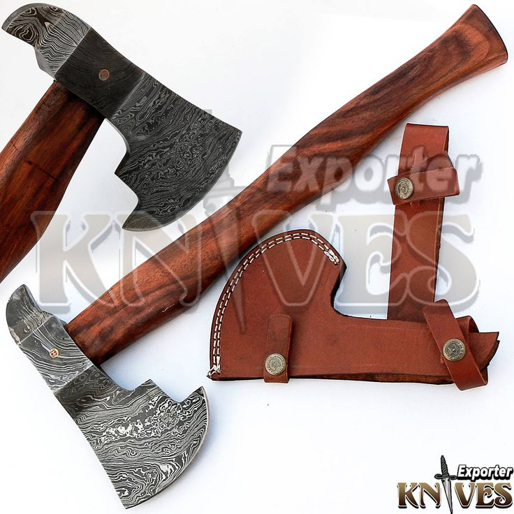 """Custom Hand Forged Damascus Steel Bearded Forest Felling Axe, 16"""" Wooden Handle by Knives Exporter 215 by TopQualityKnives on Etsy"""