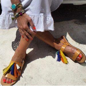 Greek Tassel Sandals Multi Colour @ivyandbird.com.au