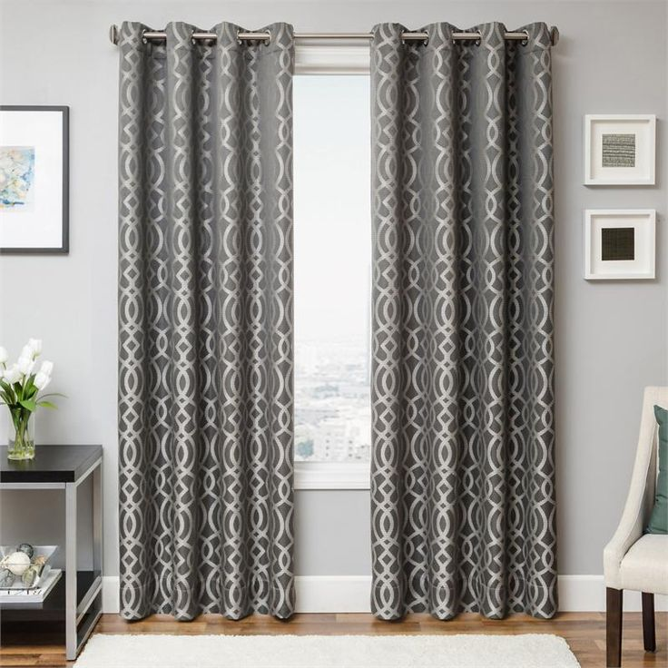 Exhale Drapery Curtain Panel In Pewter Grey Color With Modern Geometric  Tile Pattern With Options For