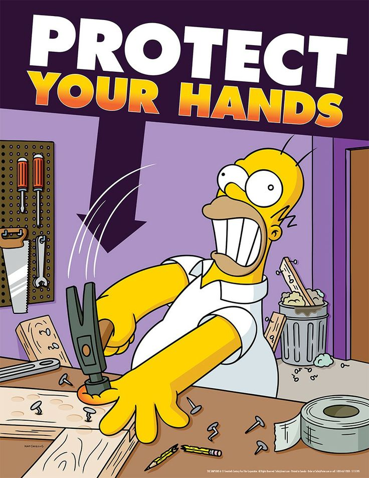 simpsons poster | WHS Hand Safety Simpsons 43x56cm