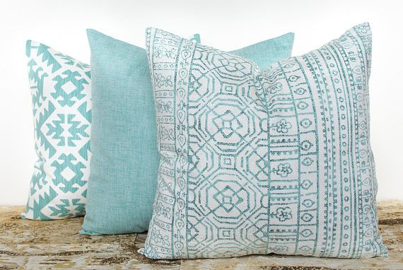 Teal Throw Pillow Covers Southwestern Pillowcases Solid Teal