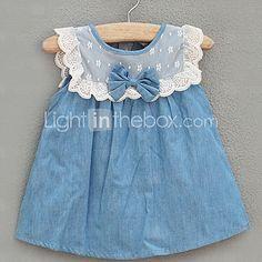 Gola redonda da menina bowknot Denim Vestido de 2016 por R$125.69