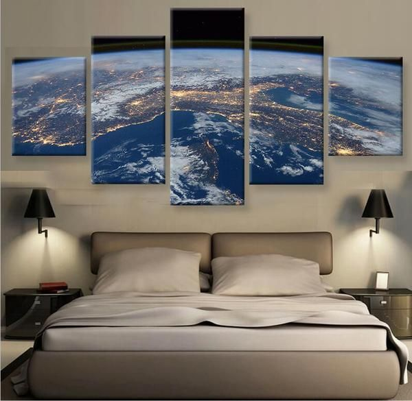 5 pieces beautiful earth at night painting canvas wall art picture home decoration living room canvas print modern painting