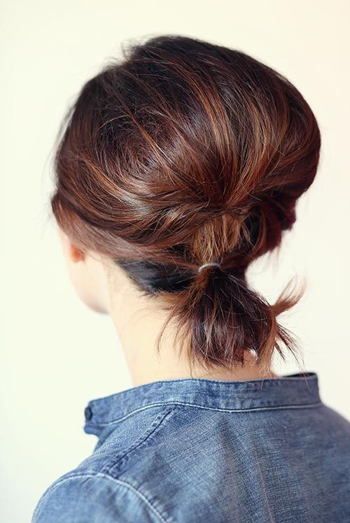 Updo Hairstyles for Short Hair: Short Teased Ponytail  #hairstyles #updos #shorthairstyles