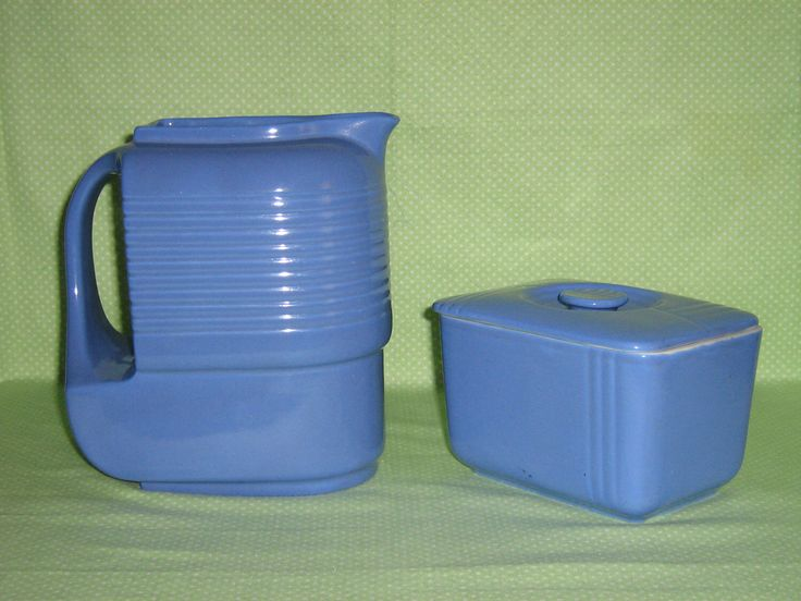 Hall Pottery Co. Art Deco Pitcher and Refrigerator Dish by CarolsTexasFaves on Etsy https://www.etsy.com/listing/510394581/hall-pottery-co-art-deco-pitcher-and