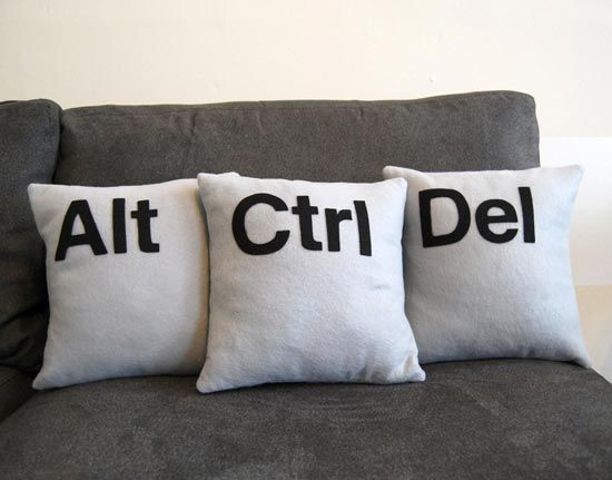 These fun geeky pillows were made from Eco-Felt (made from recycled pastic bottles), and each one measures 12 inches square.