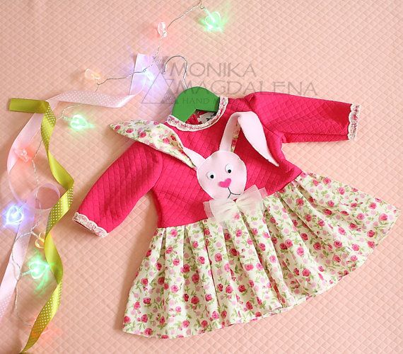 Baby girls dress Sweet Bunny made of fabric by MonikaMagdalenaHM