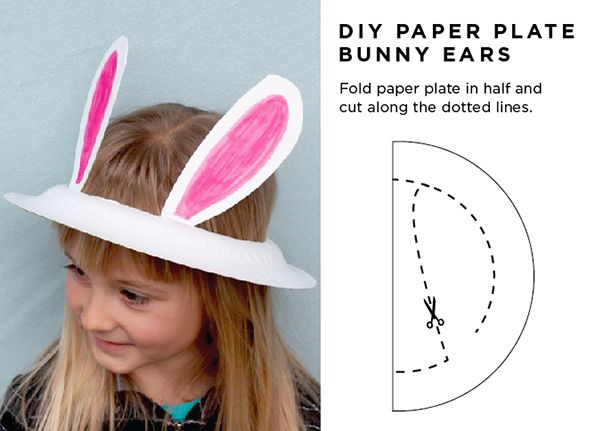 DIY Paper plate Easter bunny ears in 2 minutes! No glue or tape needed!