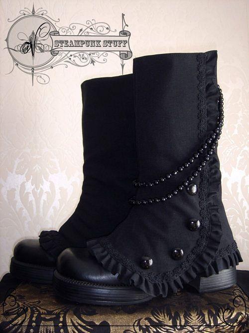 GOTH dark glamour ✤ :: Gothic Black Lolita Boots/Steam-Aristokrat Black Spats by ~Vadien