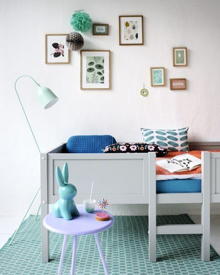 Raised toddler or childrens bed. This is so cute! Love the small play table and bunny.