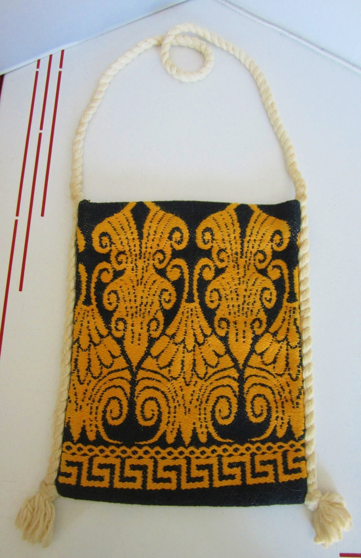 """PosVintage 1970s Hippie Purse also Shepherds Bag for carrying snacks -Greece- called """"tagari"""" in Greek"""