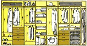 Правильные размеры внутреннего наполнения шкафа купе