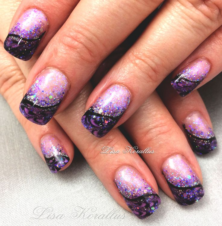 Purple and gold glitter nails