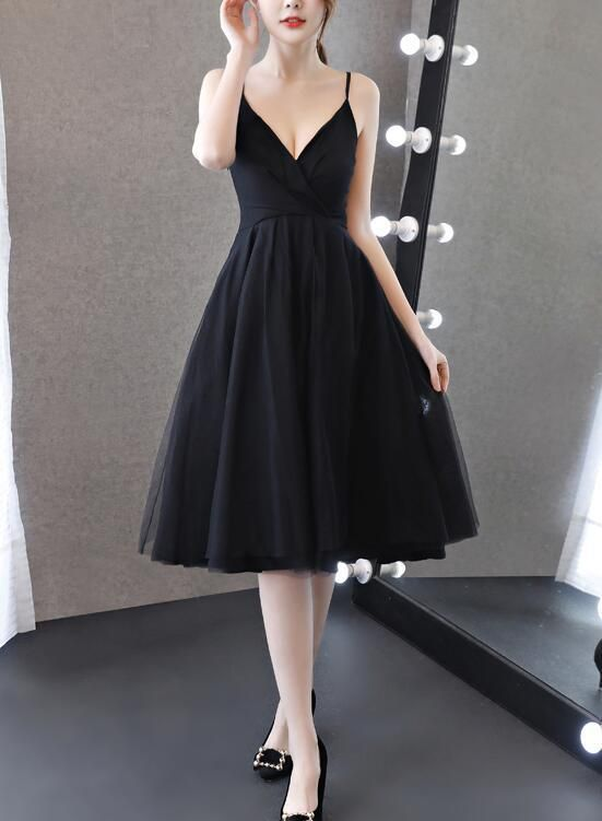 baf80d5a27 Pretty Chiffon and Tulle V-neckline Straps Knee Length Black Party Dress