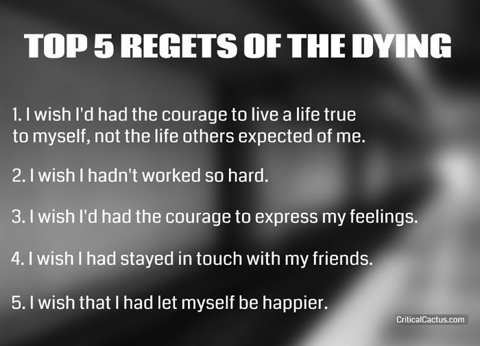 The most common things people regret not having done in their life.
