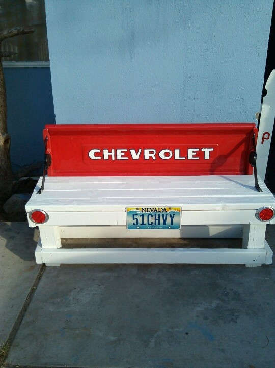 Tail gate from my truck made into a bench.