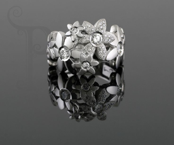 "Handmade 18ct White Gold ""Catherine"" Daisy Ring , Set With Round Brilliant Cut Diamonds"