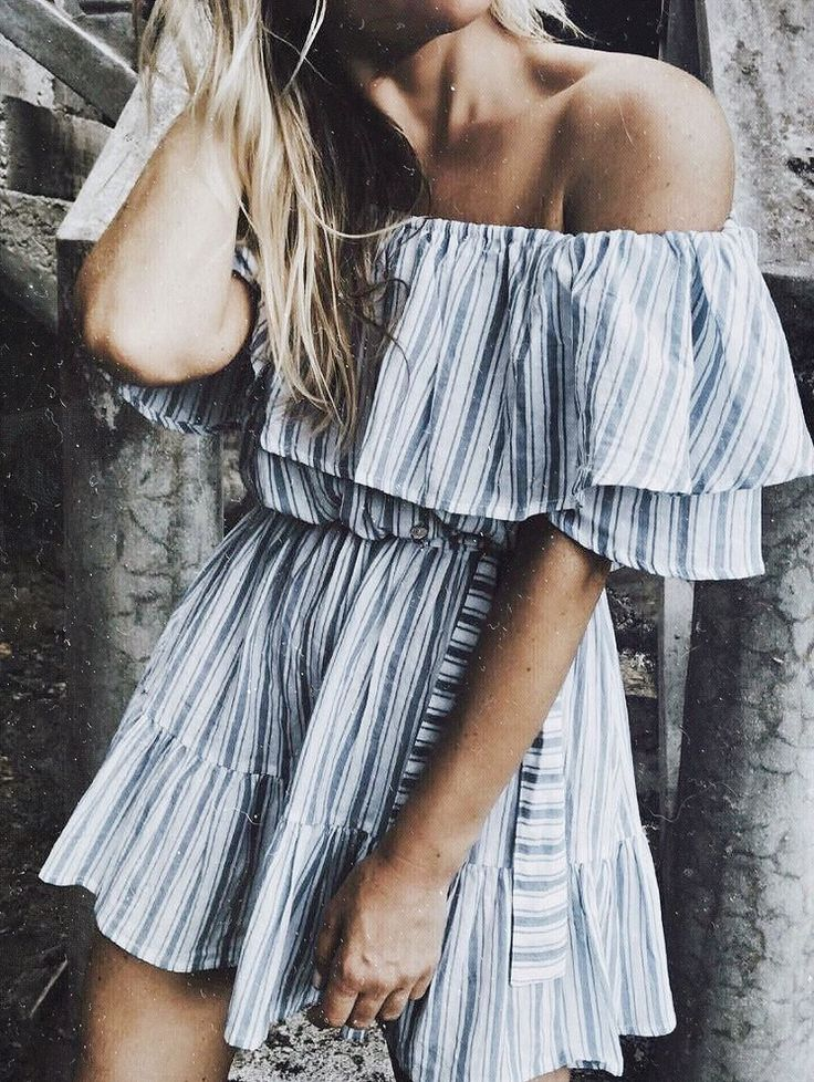 striped off the shoulder dress - boho chic - fashion blogger - style inspiration - beach looks