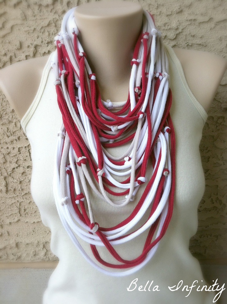 Bella Infinity Textured Scarf Wrap Red Beige White Tied Up-Cycled Jersey Fabric Boho Chic. $25.00, via Etsy.