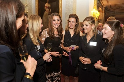 he Duchess of Cambridge talks to Team GB hockey players