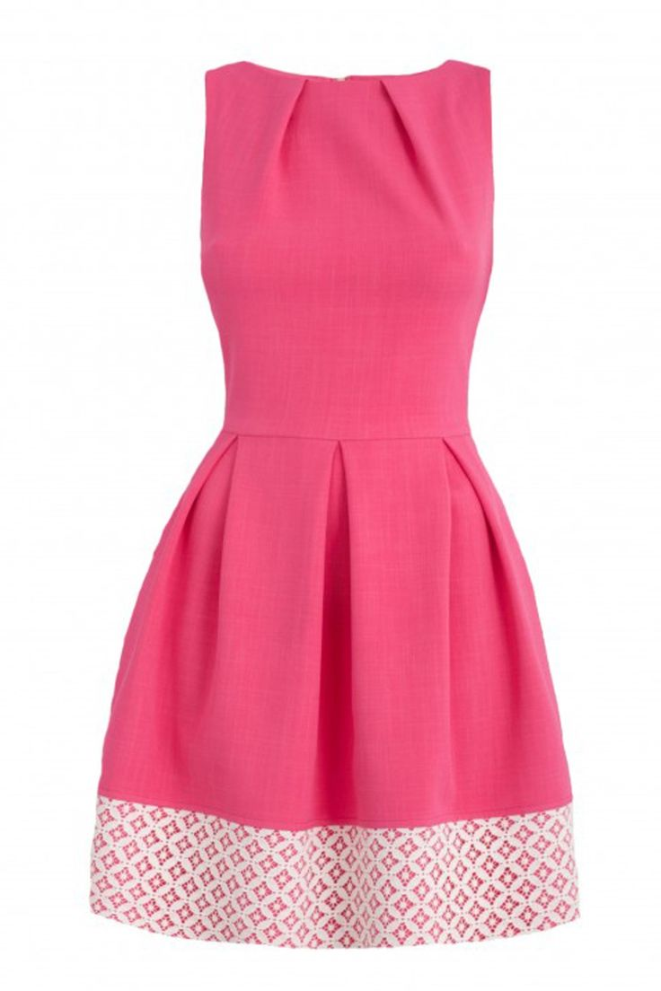 This pretty skater dress will be a wardrobe essential this season. This delicate dress cinches you in at the waist for a silhouette defining look with a slim waistband. Featuring a contrast lace hem, this dress is perfect to wear casual with comfy ballerina pumps or dressy with a gorgeous wedges.