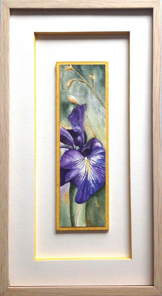 Encadrement aquarelle d'une fleur de Lys violet sur hausse et passe partout blanc avec baguette  # Baguette Encadrement Bois Brut