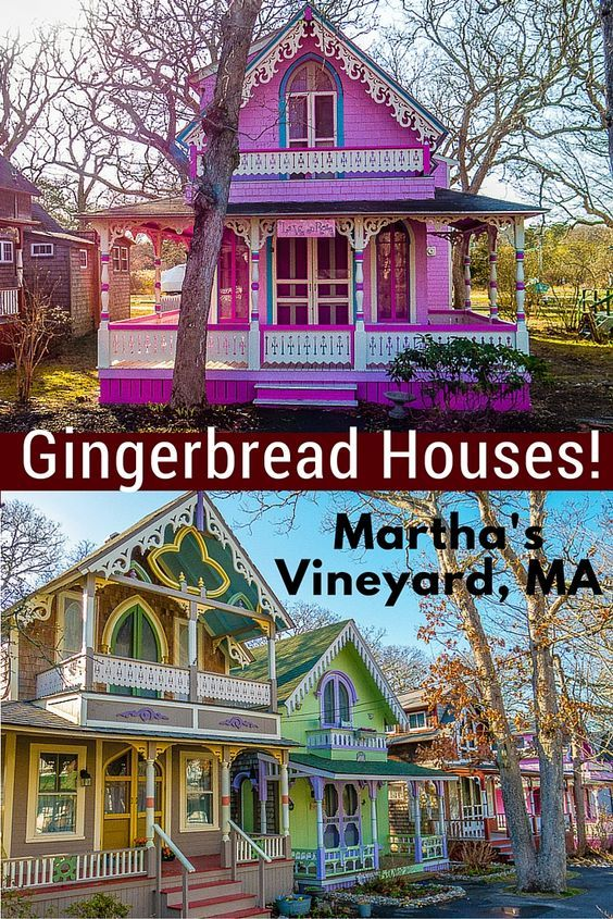 Travel to Martha's Vineyard, MA isn't complete without seeing these whimsical, colorful real-life gingerbread houses: Some of the prettiest cottages you'll ever see!