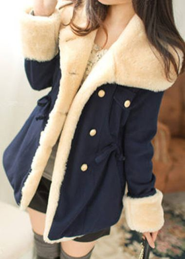 Navy Blue Faux Fur Decorated Coat on sale only US$32.70 now, buy cheap Navy Blue Faux Fur Decorated Coat at lulugal.com