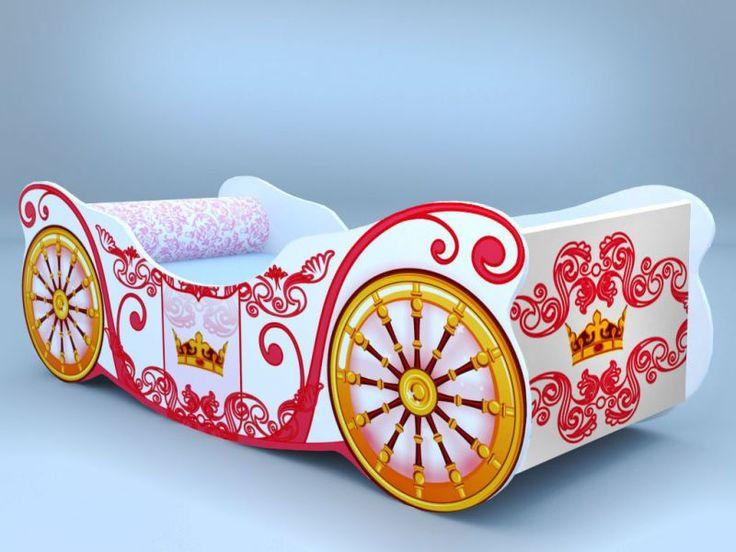 Детская кровать - карета корона белая