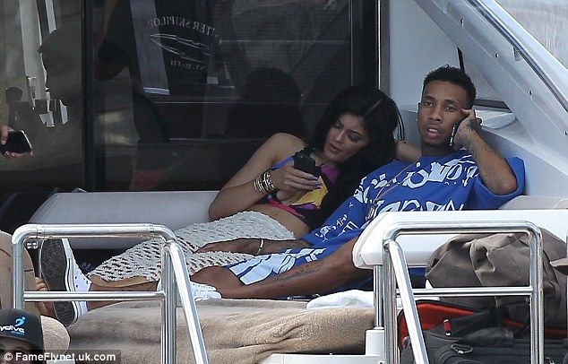 Rest and relaxation: Kylie and Tyga lounged aboard a luxury yacht in St Barths on Wednesda...