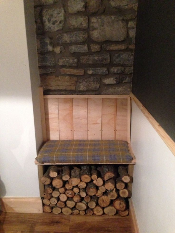 Alcove seat - tweed fabric - home made bench - dining room log store
