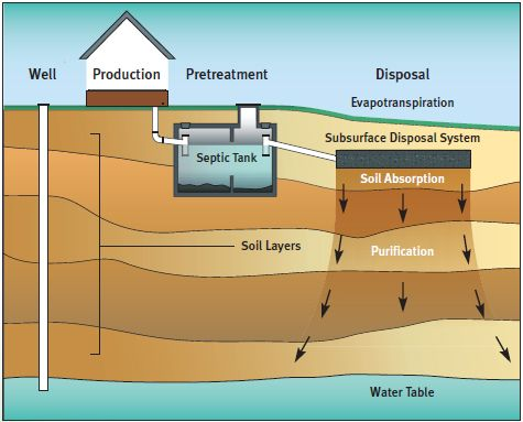 Septic tank diagram off grid pinterest septic tank for Cabin septic systems