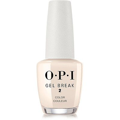 OPI Gel Break Lacquer Barely Beige. OPI's Gel Break Lacquer gives a sheer layer of color leaving nails naturally perfected. Available in nude shades designed to perfectly complement a broad spectrum of skin tones. Gel Break, a 3-step system restores nail strength from improper removal of gel polish. In just a week, nails appear healthy and rejuvenated.