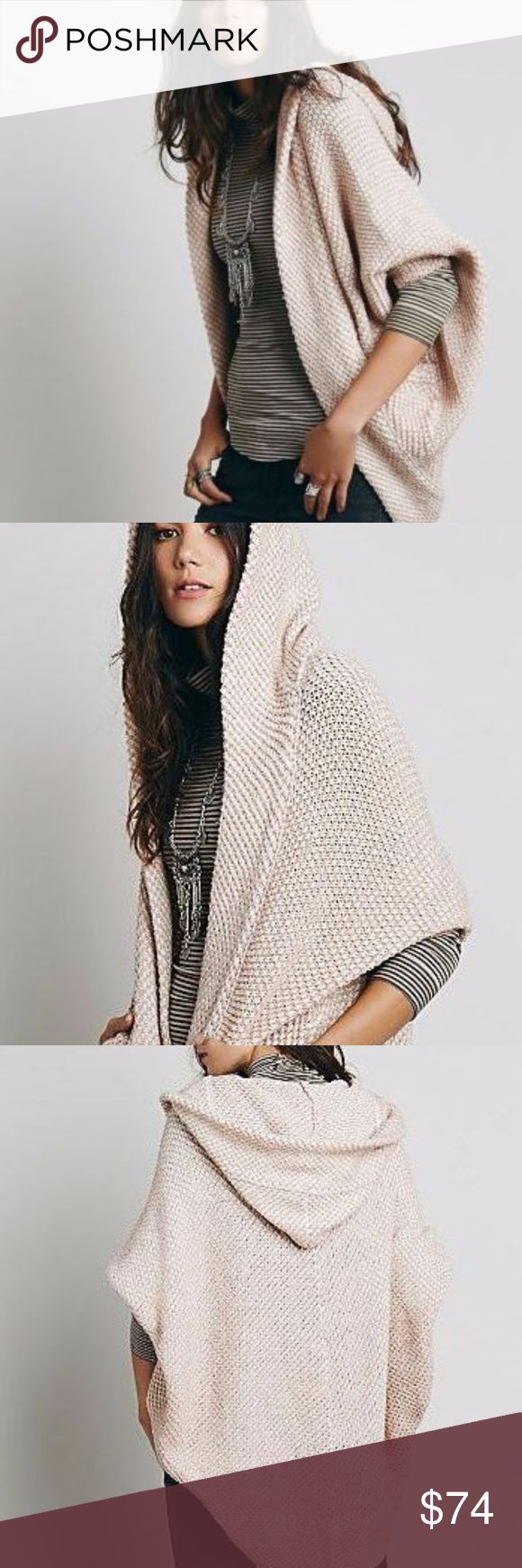 "Free People Coco Cocoon Cardigan Pink White M NEW A hooded Free People cardigan with dramatic batwing sleeves. Draped open placket. 2 front pockets. A toasty hood and cocoon silhouette define the allure of this must-have cardigan from Free People. Layer this textured topper over a basic tee and off-duty denim for a comfy-cozy, casual look. - Fixed hood, long dolman sleeves, open silhouette - Textured, cutaway front, rounded back he  - 49% acrylic/28% cotton/23% wool.  Size M Shoulder: 24""…"