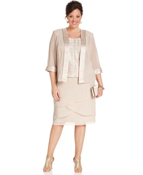 Le Bos Plus Size Outfit Three Quarter Sleeve Jacket Sleeveless Top Tiered Skirt Dresses Sizes Macys