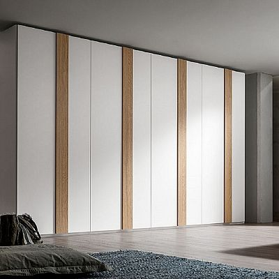 Contemporary, elegant 'Prevert' wardrobe. Wooden stripes and white. Very big, interesting piece. My Italian Living.