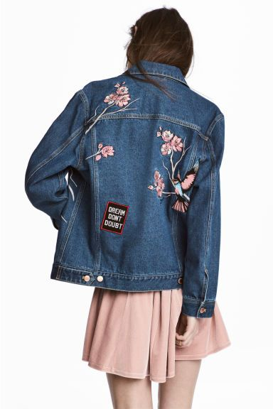 Embroidered denim jacket - Dark denim blue - Ladies | H&M CA