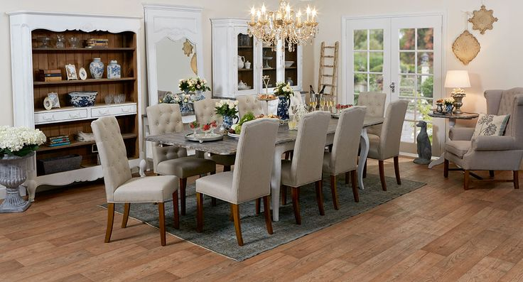 Trianon extension dining table and 10 Lucan dining chairs