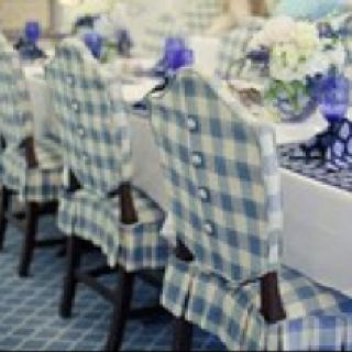 Blue & White - Slipcovers on   Hepplewhite Chairs with button back detailing