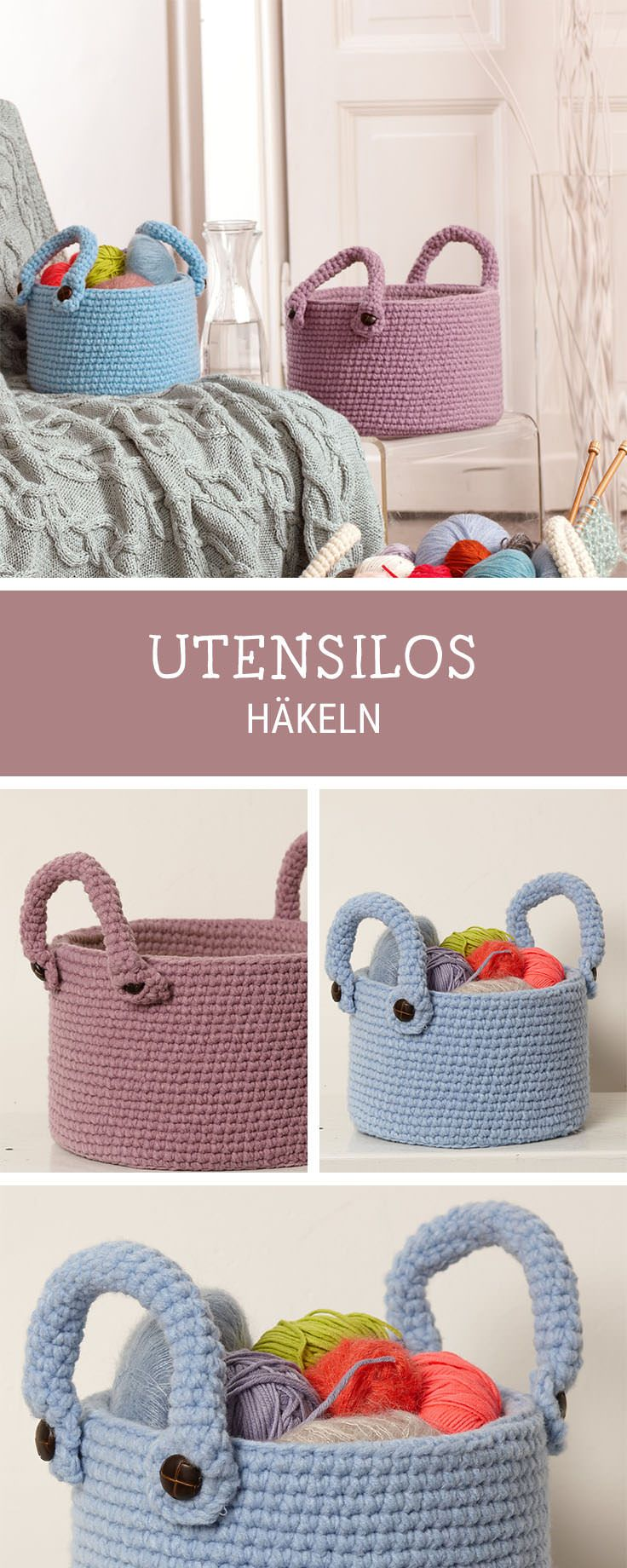 Häkelinspiration: DIY für gehäkelte Utensilos in verschiedenen Größen / diy inspiration: crochet tutorial and pattern for crocheted utensilos via DaWanda.com